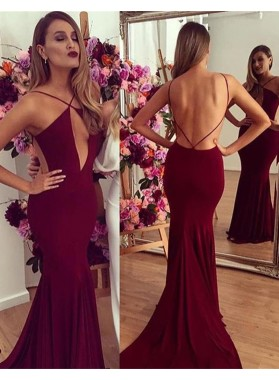 2019 Gorgeous Red Spaghetti Straps Backless Stretch Satin Prom Dresses