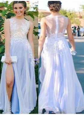 LadyPromDress 2019 Blue Appliques High-Slit A-Line/Princess Chiffon Prom Dresses
