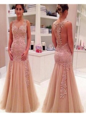 Floor-Length/Long Appliques Zipper Natural Sleeveless Mermaid/Trumpet Tulle Prom Dresses