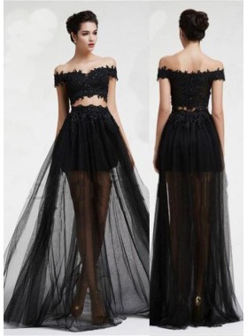 2019 Junoesque Black Appliques Floor-Length/Long Off-the-Shoulder A-Line/Princess Tulle Prom Dresses