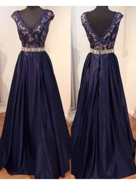 LadyPromDress 2019 Blue Beading Appliques Floor-Length/Long A-Line/Princess Satin Prom Dresses