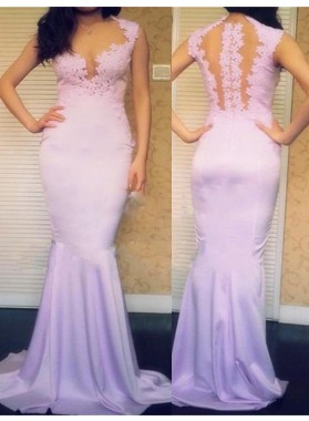 Appliques Queen Anne Mermaid/Trumpet Satin Lilac Prom Dresses