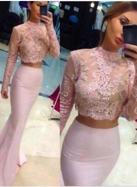 Beading Appliques Stretch Satin Two Pieces 2019 Glamorous Pink Long Sleeve Prom Dresses