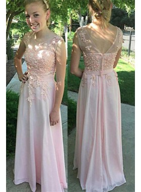 Floor-Length/Long Appliques Zipper A-Line/Princess Chiffon Prom Dresses