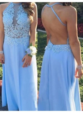 Appliques Floor-Length/Long Backless Natural A-Line/Princess Chiffon Prom Dresses