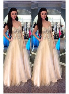 Sweetheart Floor-Length/Long A-Line/Princess Tulle Prom Dresses