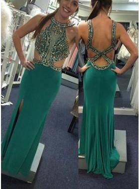 Halter Split Front Column/Sheath Stretch Satin Prom Dresses