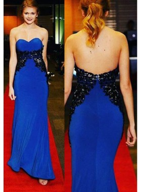 LadyPromDress 2018 Blue Prom Dresses Sweetheart Appliques Column/Sheath Stretch Satin