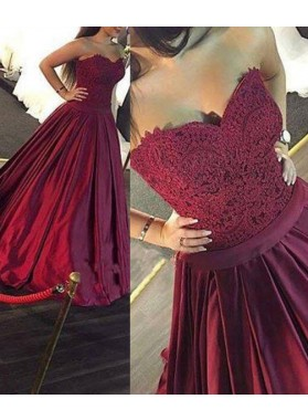 Burgundy Pleated Sweetheart A-Line/Princess Lace Prom Dresses