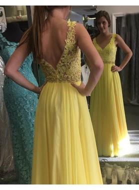 Lace Spliced Straps A-Line/Princess Chiffon Prom Dresses