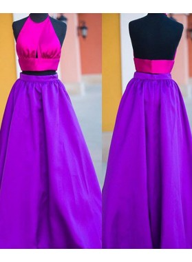 Purple Backless A-Line/Princess Satin Two Pieces Prom Dresses