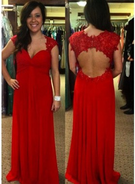 2019 Gorgeous Red Queen Anne Appliques Backless Column/Sheath Chiffon Prom Dresses