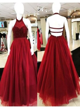 2018 Gorgeous Red Halter Backless Beading Ball Gown Tulle Prom Dresses