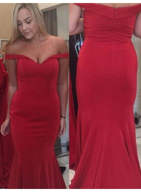 2019 Gorgeous Red Off-the-Shoulder Zipper Mermaid/Trumpet Prom Dresses