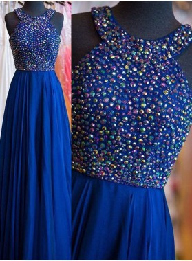 LadyPromDress 2018 Blue Beading Halter Prom Dresses