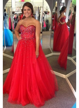 2019 Gorgeous Red Prom Dresses Sweetheart Beading Ball Gown Tulle