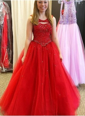 2018 Gorgeous Red Prom Dresses Round Neck Beading Tulle