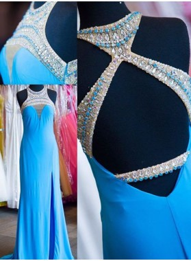 LadyPromDress 2018 Blue Beading Halter Side-Slit Satin Prom Dresses