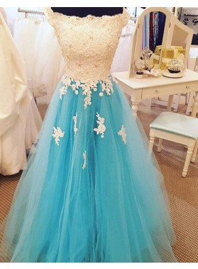 LadyPromDress 2018 Blue Off the Shoulder Appliques A-Line/Princess Tulle Prom Dresses