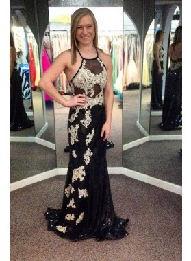2018 Junoesque Black Appliques Halter Column/Sheath Prom Dresses