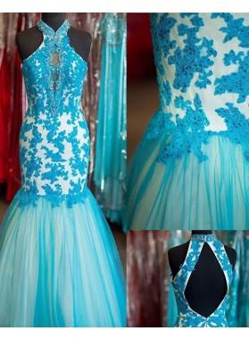 LadyPromDress 2018 Blue Rhinestone Appliques Halter Mermaid/Trumpet Prom Dresses