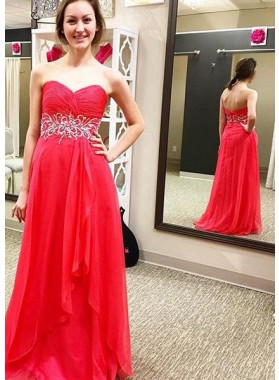 2018 Gorgeous Red Prom Dresses Sweetheart Backless A-Line/Princess Chiffon