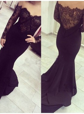 2019 Junoesque Black Off-the-Shoulder Lace Embellishment Mermaid/Trumpet Prom Dresses