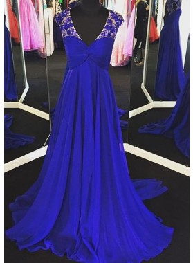 LadyPromDress 2018 Blue Appliques V-Neck Sweep Train A-Line/Princess Chiffon Prom Dresses