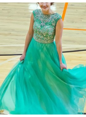 Round Neck Beading A-Line/Princess Chiffon Prom Dresses