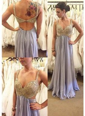 Sequins Straps A-Line/Princess Chiffon Prom Dresses Lavender
