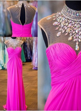 Illusion Crystal Ruching Chiffon Prom Dresses