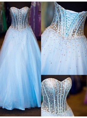 LadyPromDress 2018 Blue Beading Lace-up Ball Gown Tulle Prom Dresses