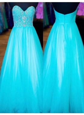 LadyPromDress 2018 Blue Beading Sweetheart Tulle Prom Dresses