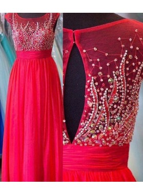 2018 Gorgeous Red Crystal Round Neck Tulle Prom Dresses