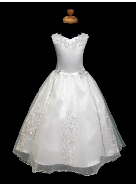 2020 Absorbing Best Selling Cute Applique V-neck Sleeveless A-Line First Communion Dresses