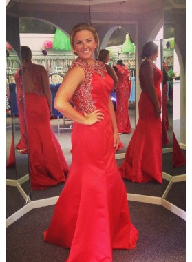 2018 Gorgeous Red Beading Round Neck Mermaid/Trumpet Satin Prom Dresses