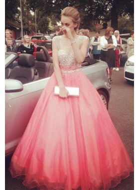 Water Melon Beading  Floor-Length/Long Ball Gown Tulle Prom Dresses
