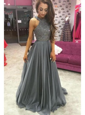 2019 Cheap Chiffon Princess/A-Line Beaded Silver Prom Dresses