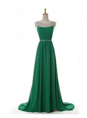 Beading Jewel Neck A-Line/Princess Chiffon Prom Dresses
