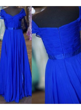 LadyPromDress 2018 Blue Ruching Short Sleeves A-Line/Princess Chiffon Prom Dresses