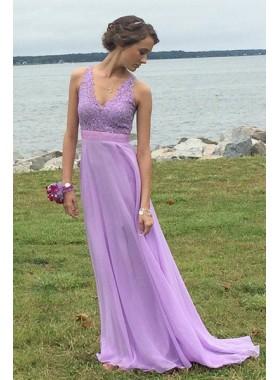 V-Neck Sleeveless A-Line/Princess Chiffon Prom Dresses