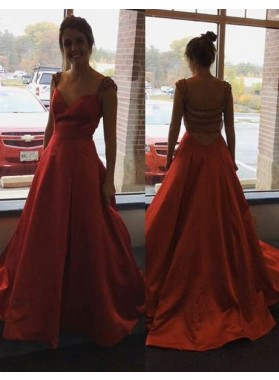 2019 Gorgeous Red Beading Capped Sleeves A-Line/Princess Satin Prom Dresses