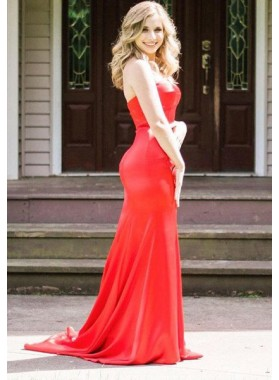 2018 Gorgeous Red Sweetheart Sweep Train Satin Prom Dresses