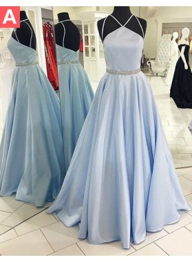 LadyPromDress 2019 Blue Halter Floor-Length/Long Backless A-Line/Princess Satin Prom Dresses