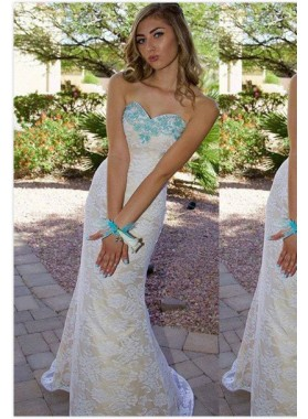 2018 Unique White Beading Sweetheart Mermaid/Trumpet Lace Prom Dresses