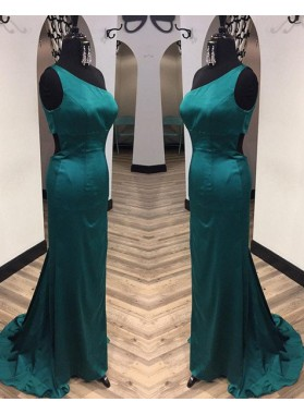 One Shoulder Column/Sheath Stretch Satin Prom Dresses