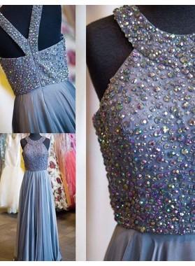 Halter Beading A-Line/Princess Chiffon Prom Dresses