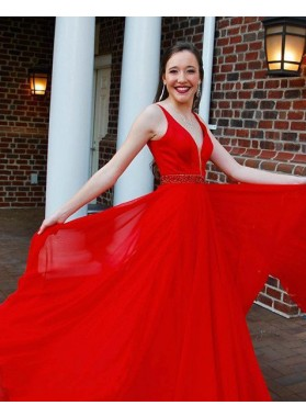 2018 Gorgeous Red Beading V-Neck A-Line/Princess Chiffon Prom Dresses