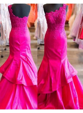 Appliques One-Shoulder Mermaid/Trumpet 2018 Gorgeous Red Prom Dresses