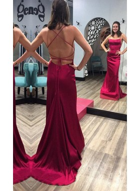 Burgundy Criss-Cross Spaghetti Straps Stretch Satin Prom Dresses